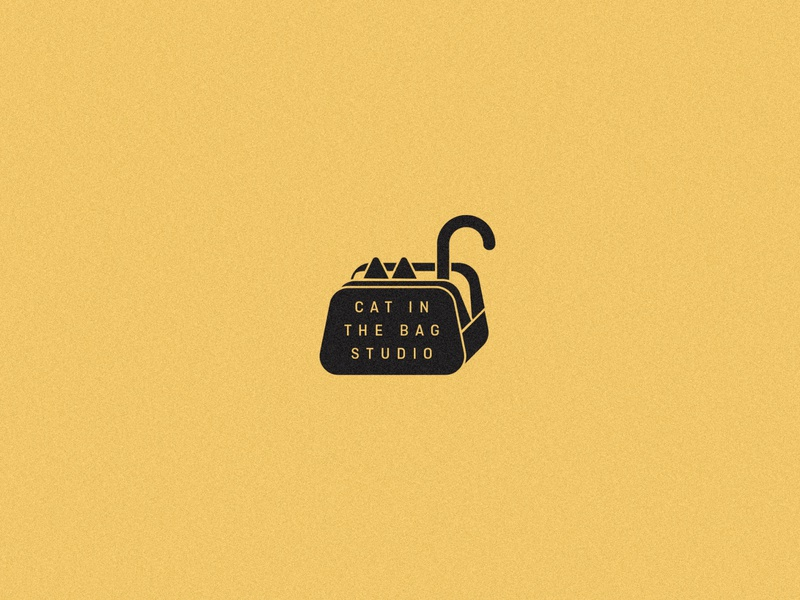 Cat in the Bag simple cat vintage logo branding retro illustration typography vector design