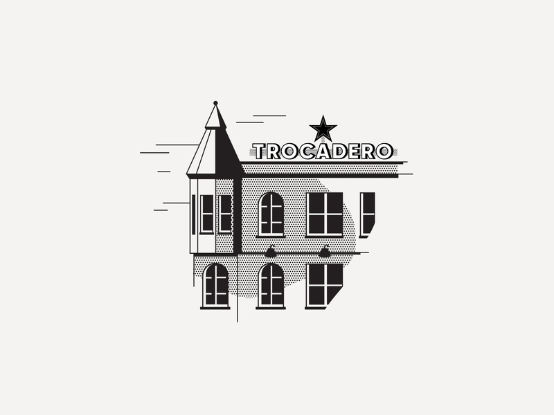 ---27/52--- Trocadero spot illustration bar monoline line illustration black and white retro illustration vector design