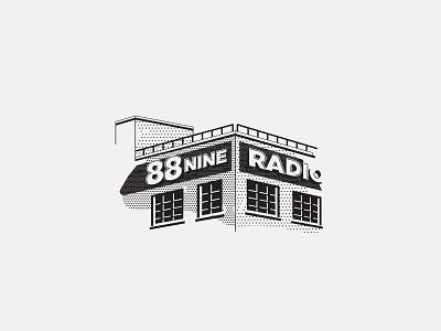 ---33/52--- 88.9 Radio Milwaukee monoline black and white radio building vintage retro illustration vector design