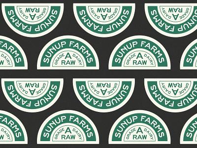 Sunup Farms farm dairy pattern vintage logo branding badge type retro typography vector design