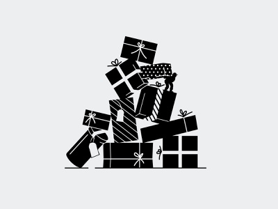 Foxtrot Holiday Campaign holiday presents christmas black and white retro illustration vector design