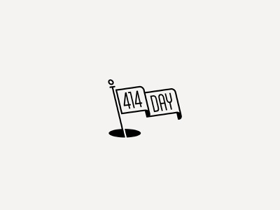414 Day simple black and white flag illustration typography vector design