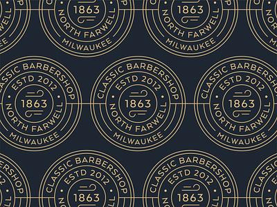 Dapper Barbershop - Unused milwaukee barber art deco barbershop pattern vintage branding badge type retro typography vector design