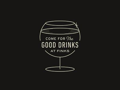 Drinks at Finks bar cocktails badge type illustration retro typography vector design