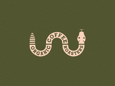 Organic Coffee Roasters coffee brand snake creature brand identity coffee branding type illustration typography vector design