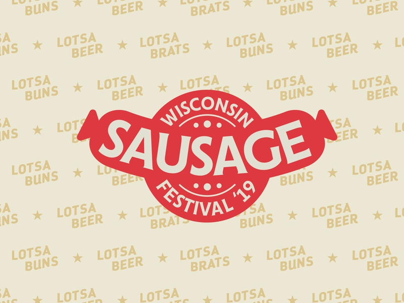 Sausage Fest retro pattern type logo branding badge typography illustration vector design