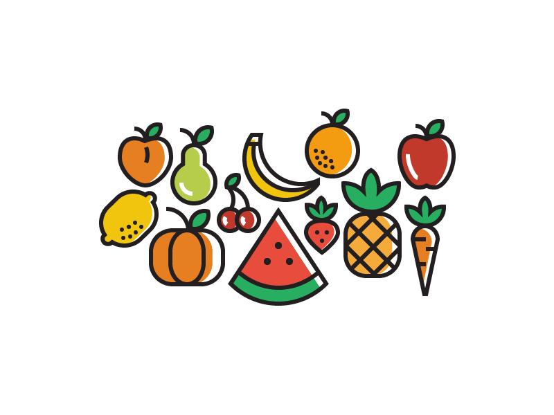 Fruits orange pear strawberry cherry lemon pumpkin carrot pineapple watermelon banana apple peach
