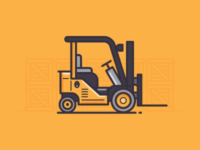 Forklift 365 daily challenge thick stroke outline icon vector