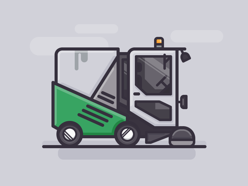 Street Sweeper vector icon outline daily challenge car truck vehicle