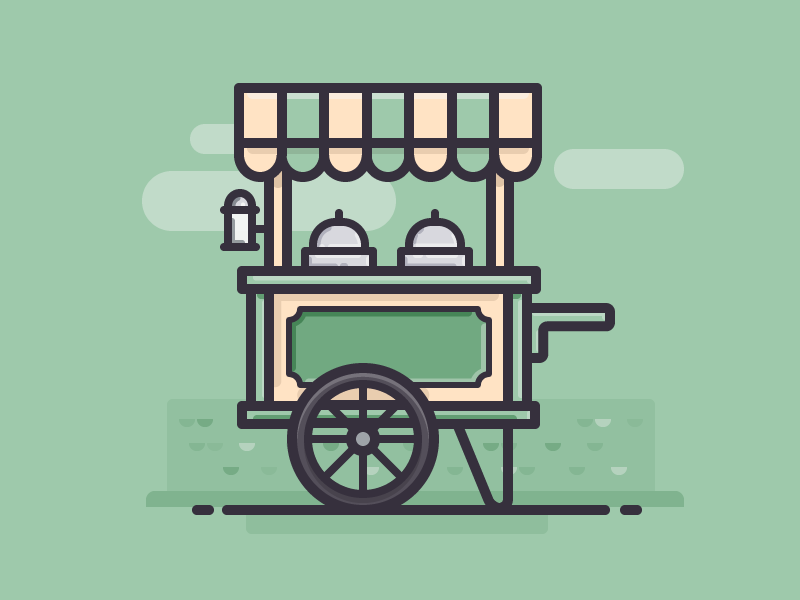 Ice Cream Cart dessert vehicle car daily challenge outline icon vector