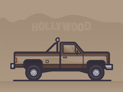 The Fall Guy television pick up truck car daily challenge outline vector icon