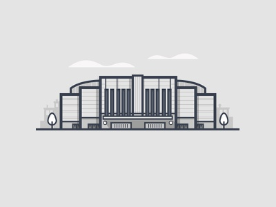 United Center blackhawks bulls arena stadium chicago tree clouds building daily challenge outline vector icon