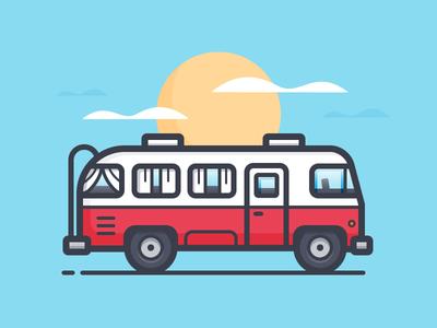 Tour Bus van car daily challenge bus icon vector