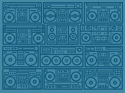 Wall of Sound music speaker cassette pattern turbo o-zone break dance radio boom box daily challenge icon vector