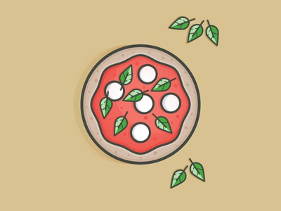 Pizza tomato cheese basil italy food daily challenge icon vector