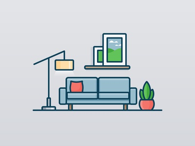 Living Room plant painting light sofa couch room house daily challenge icon vector