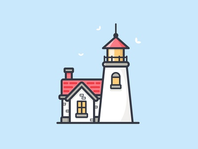 Lighthouse ocean sea house birds lake water daily challenge icon vector