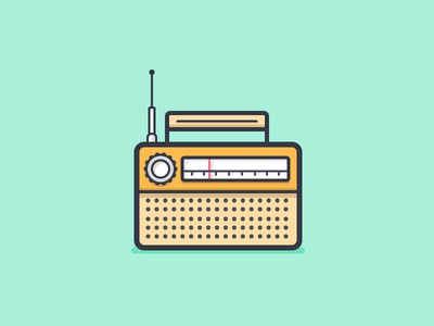 Radio vintage radio fm am music daily challenge icon vector