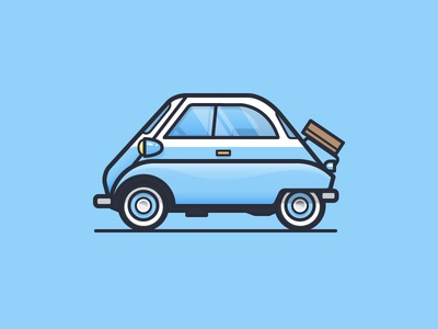Isetta hot rod vintage automobile car bmw daily challenge icon vector