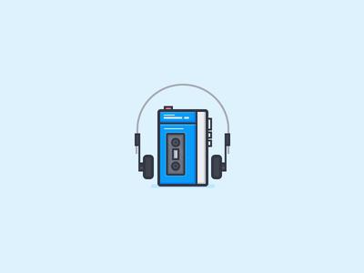 Walkman 80s headphones sony tape player music daily challenge icon vector