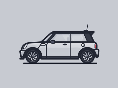 Mini Cooper england automobile car daily challenge icon vector