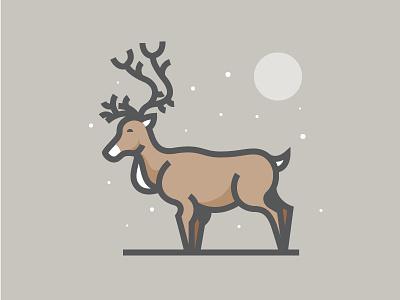Reindeer santa north pole moon snow christmas icon daily challenge vector