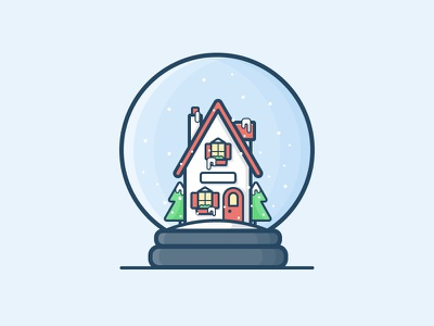 Workshop home house snow tree holiday christmas santa icon daily challenge vector