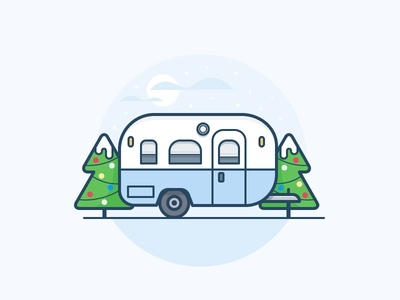 Camper home house snow tree holiday christmas santa icon daily challenge vector