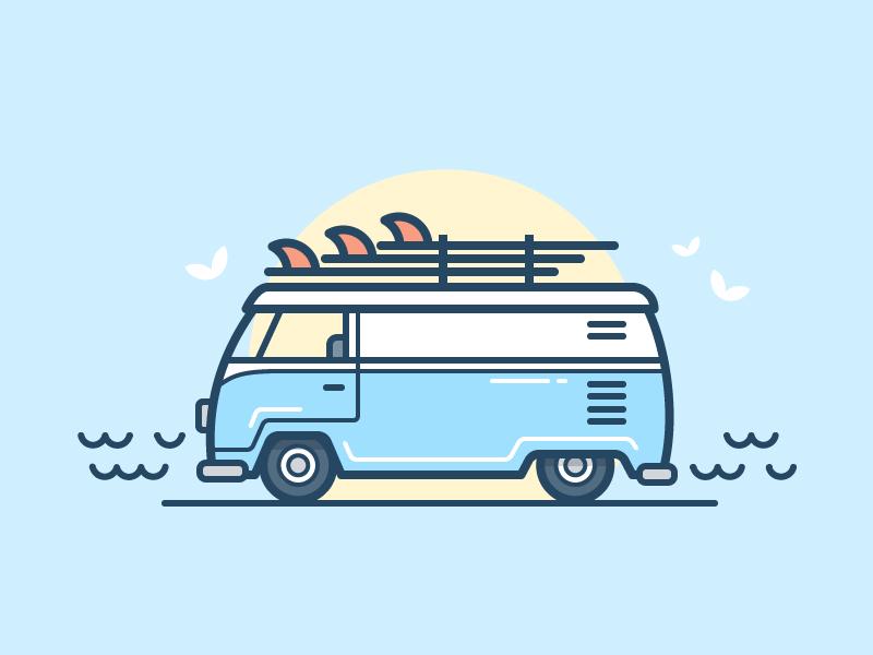 Surf Van bird board sun water ocean van auto car icon daily challenge vector