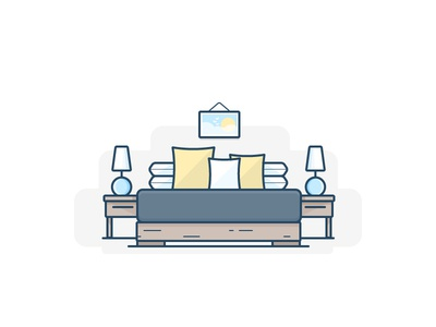 Bedroom set bed pillow lamp sleep icon daily challenge vector