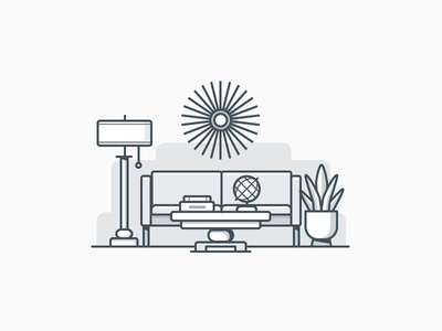 Living Room plant table light artwork sofa interior house building icon daily challenge vector