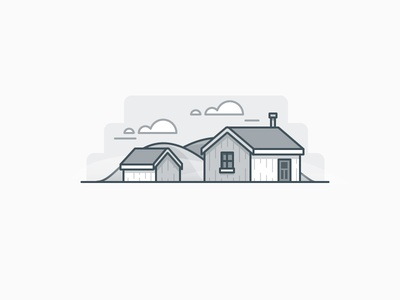 Cabin n the hills clouds house building icon daily challenge vector