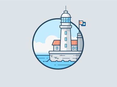 El Morro, Cuba clouds lake ocean sea water ship icon daily challenge vector