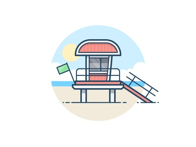South Beach florida lifeguard clouds lake ocean sea water icon daily challenge vector