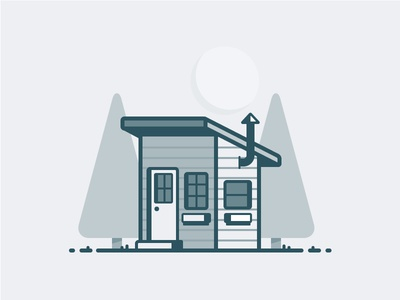 Tiny House  tree house building sun cloud icon daily challenge vector