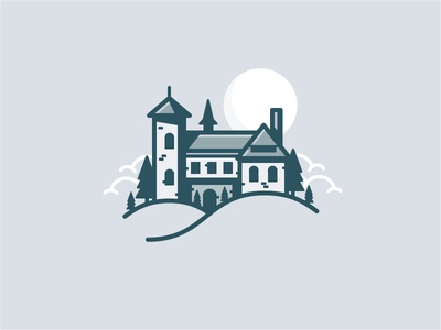 Castle Icon clouds moon tree building icon daily challenge vector