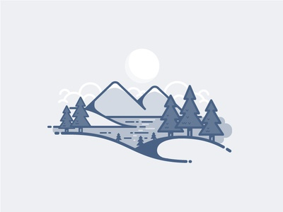 Landscape mountains lake clouds moon tree icon daily challenge vector