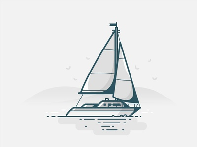 Sailboat  birds ship boat clouds lake ocean sea water icon daily challenge vector