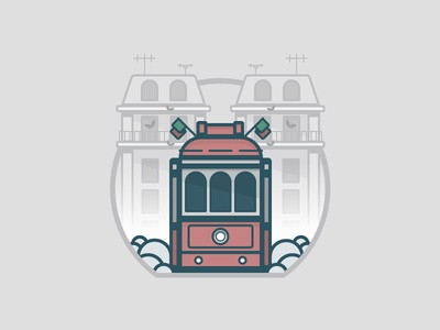 Lisbon portugal building train daily challenge vector