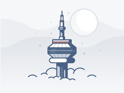 CN Tower toronto clouds canada stars space icon daily challenge vector