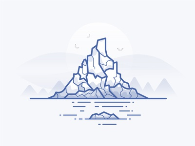 Iceberg ice sun icon daily challenge vector