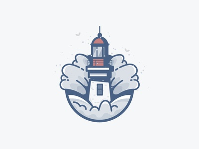 Wave bird lighthouse lake sea ocean water building icon daily challenge vector