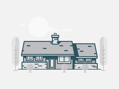 Atomic Ranch cloud tree modern mid-century moon house illustration icon vector