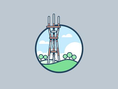 Sutro Tower sky cloud tree san francisco illustration icon vector