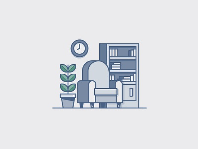 Living Room clock plant bookcase chair house illustration icon vector