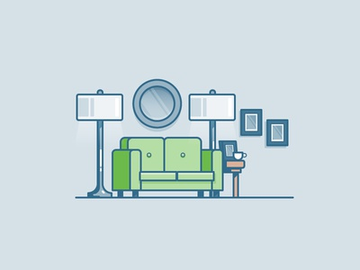 Loungin living room coffee lamp sofa apartment house illustration icon vector