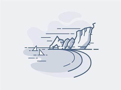 Etretat Beach england normandy lake ocean illustration vector