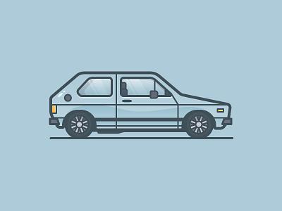 Rabbit auto gti golf volkswagen car icon illustration vector