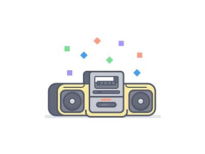 Sony Boom Box mega bass tape player stereo icon illustration vector