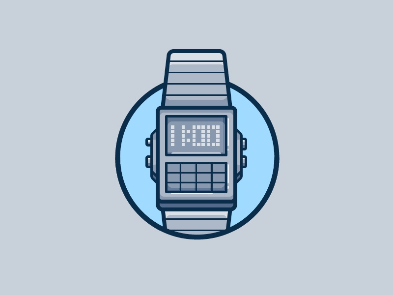 Watch electronics analog tech illustration icon vector